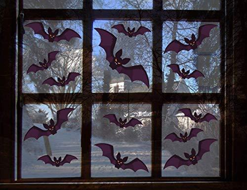 XT-Direct 96 Stück Fledermaus-Aufkleber, Halloween-Party-Zubehör, hergestellt mit selbstklebendem PVC für Halloween, Zuhause, Fenster, Vampir, Zombie-Party, Dekoration (verschiedene Größen)