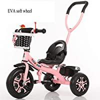 TH Children Tricycle Bike Baby Carriage Stroller,Detachable Push Rod,EVA Soft Wheel 75x45x55 Cm,2-6 Years Old