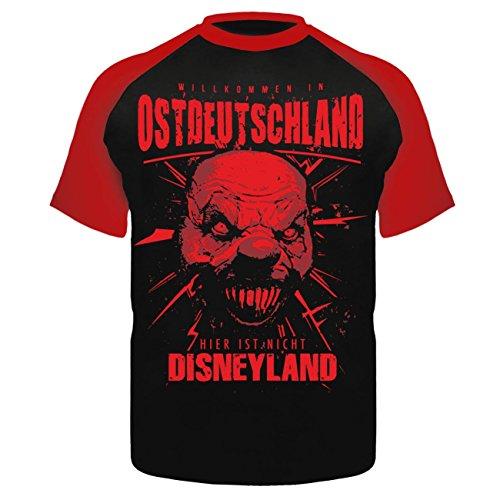 Männer und Herren T-Shirt Ostdeutschland WILLKOMMEN Schwarz/Rot