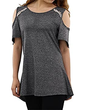 [Patrocinado]NASKY Camisetas Mujer Verano 2018 Blusa Manga Corta Originales T-Shirt Off Shoulder Tops