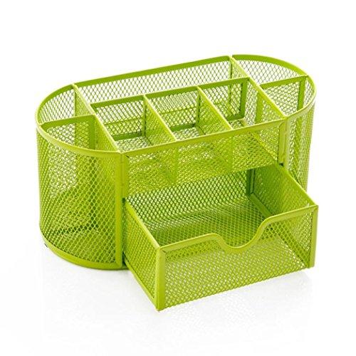Hansee scrivania Supplies matita Organizzatore Organiser da scrivania per ufficio Organizer per vassoio multifunzione in metallo portapenne 22*11*10.5CM Green