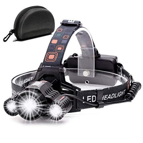 Cobiz LED-Stirnlampe, LED-Stirnlampe, superhell, 4 Modi, Helmlicht für Laufen, Camping, Wandern, Angeln, schwarz (Black)