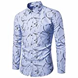 JUTOO Langärmliges Herrenhemd Business Slim Fit Hemd Print Bluse Top (Blau,X-Large)