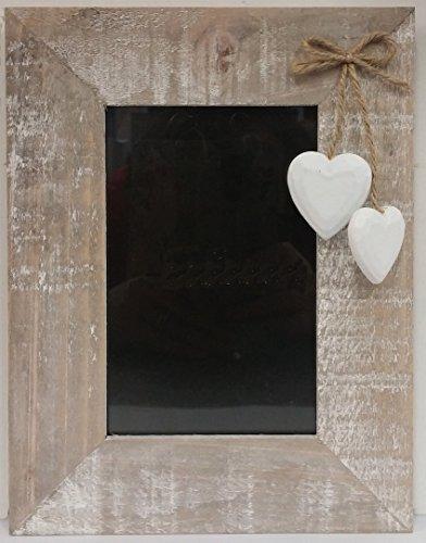 Cornice portafoto in legno, in stile shabby chic, colore: naturale, da appendere, motivo: cuori bianchi