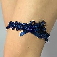 Giarrettiera di pizzo nozze matrimonio sposa biancheria intima regali de nozze blu perle Swarovski