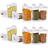 MWMALLINDIA 1100ML PACK OF 6 Transparent Plastic Cereal Dispenser Easy Flow Kitchen Container Set - Storage Box Idle for…