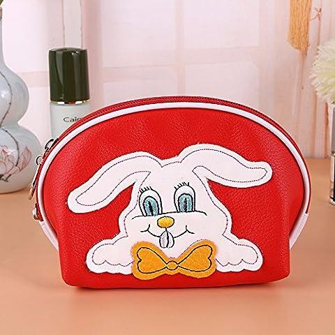 Creative borsetta sacchetti cosmetici Lychee Pattern Storage in pelle Borse Borse di lavaggio,rosso