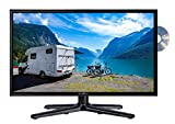 Reflexion LDDW-19 Wide-Screen LED-Fernseher (22 Zoll) für Wohnmobile mit DVB-T2 HD, DVD-Player, Triple-Tuner und 12 Volt Kfz-Adapter (12 V / 24 V, HD, HDMI, USB, CI+, DVB-T Antenne), [Energieklasse A]