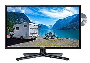 Reflexion LDDW-22 Wide-Screen LED-Fernseher (22 Zoll) für Wohnmobile mit DVB-T2 HD, DVD-Player, Triple-Tuner und 12 Volt Kfz-Adapter (12 V / 24 V, Full HD, HDMI, USB, EPG, CI+, DVB-T Antenne), schwarz