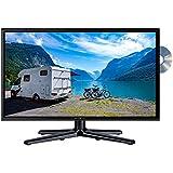 Reflexion LDDW-24 Wide-Screen LED-Fernseher (24 Zoll) für Wohnmobile mit DVB-T2 HD, DVD-Player, Triple-Tuner und 12 Volt Kfz-Adapter (Full HD, HDMI, USB, EPG, CI+, DVB-T Antenne), schwarz