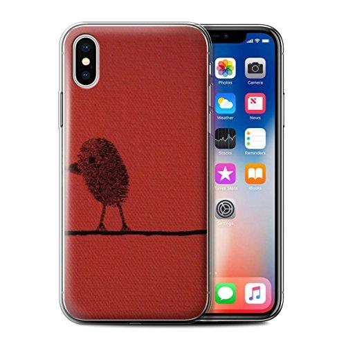 Stuff4 Gel TPU Hülle / Case für Apple iPhone X/10 / Birne/Recht Muster / Sie & Mich Paare Kollektion Daumen Vogel/Recht