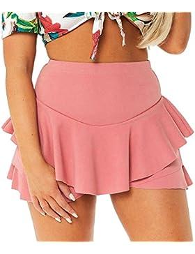 hibote Faldas cortas de cintura alta con tirantes Faldas de volantes con volantes en capas para mujer
