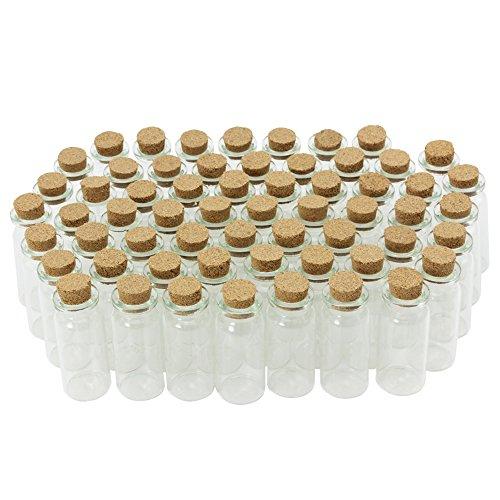 COM-FOUR® 60x Mini Glasfläschchen mit Korkverschluss, für Öle oder Gewürze, ca. 10 ml (60 Stück)