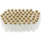 Com-Four 60x mini Flacon en verre avec bouchon en liège, pour huiles ou épices, env. 10ml