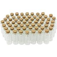 COM-FOUR® 60x Mini Glasfläschen mit Korkverschluss, für Öle oder Gewürze, ca. 10 ml (60 Stück)