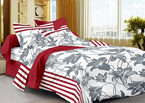 Story@Home 208 TC 100% Cotton White 1 Single Bedsheet with 1 Pillow...