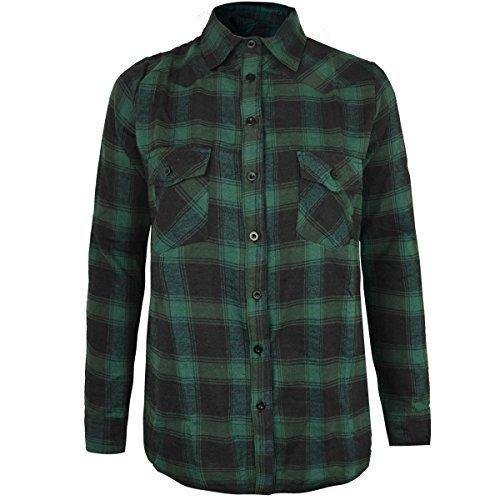 Damen Kariertes Hemd Lumberjack langärmlig Flanell Knöpfe Bluse Oberteil - grün blau Twill, 44 (Damen Baumwoll-twill Hemd)