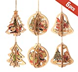ilauke Decoración del árbol Navideño de Madera Adornos de árbol de Navidad DIY 3D Originales Colgantes de Madera para Decoración Hechos a Mano