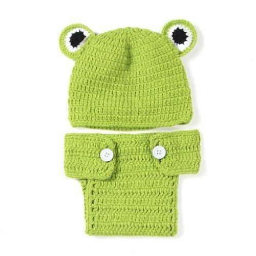 NiceButy Neugeborenes Baby Fotografie prop Kostüm niedliche grüne Frosch Foto prop Kostüm Häkeln Kleidung mit Hut BabyProducts