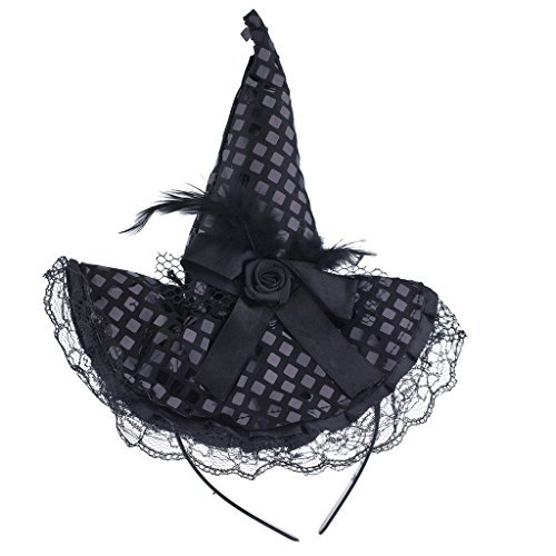 Federn Hexe Schwarz Hut (LUX Zubehör Halloween schwarz Spitze Blume Feder Hexe Hut)