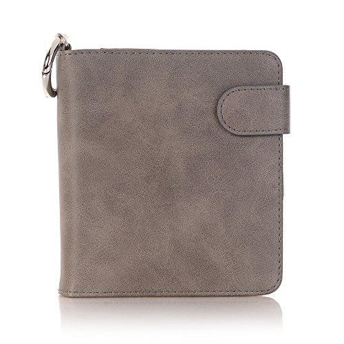 JERFER Luxus für iQOS elektronische Zigaretten-Kit Leder Herren Brieftasche Case Pouch Bag + Schlüsselanhänger (Grau)