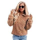 Moonuy Frauen Langarm Mantel Damen Wintermantel Künstliche Wolle Windcoat Kapuzen Warm Günstige Sweatshirt Winter Parka Oberbekleidung (EU 40 / Asien XL, Braun)