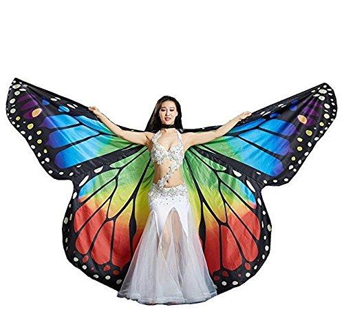Regenbogen Schmetterling Großer Bauchtanz Engel Isis Flügel 360 Grad Flexibel Keine Stöcke Voll Exotische Kostüm Kinder Erwachsene Professionelle Aufführungen , Rainbow Butterfly , (Kostüm Verkauf Flügel Schmetterlings Für)
