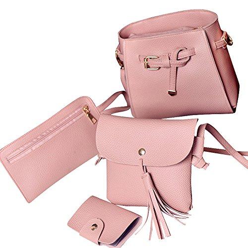 TIFIY Damen Mode Solide 4 Stück Taschen Set, 2 Umhängetasche 1 Wallet 1 Kartenbeutel (Rosa) (Wallet Stück 2 Set)