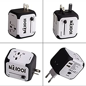 Milool Universal Reise-Adapter mit Doppel USB-Ports aus 150 Ländern weltweit US UK EU AU Universal fusionierten Sicherheit AC-in einem Ladegerät(weiß)