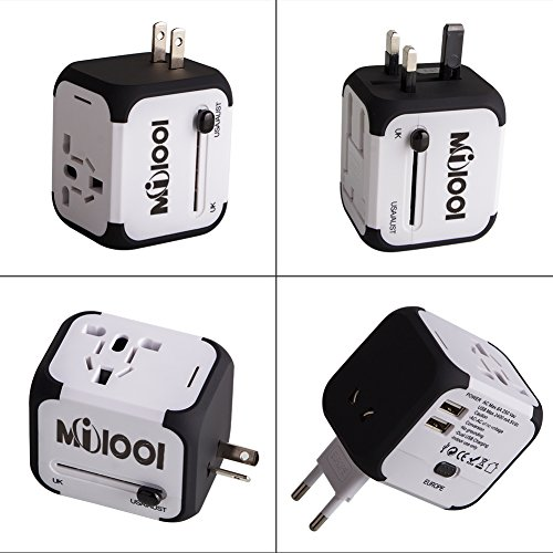 Milool Universal Reise-Adapter mit Doppel USB-Ports aus 150 Ländern weltweit US UK EU AU Universal fusionierten Sicherheit AC-in einem Ladegerät(weiß) -