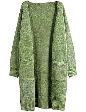 Mujeres sección larga suelto grandes bolsillos Manga Larga chaqueta de la rebeca Verde