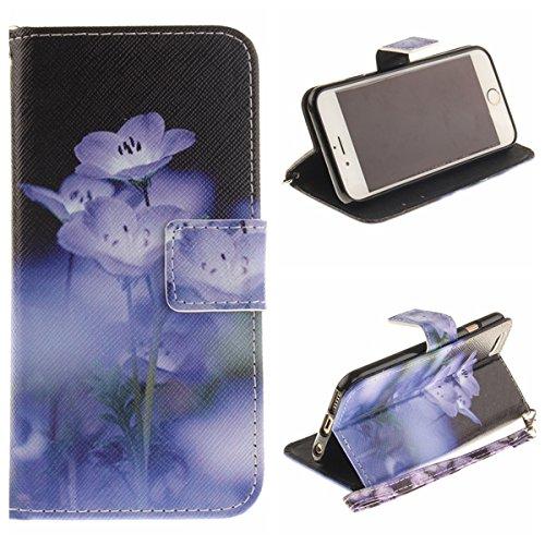 Voguecase® Pour Apple iPhone 5 5G 5S Coque, Étui en cuir synthétique chic avec fonction support pratique pour Apple iPhone 5 5G 5S (Panda 03)de Gratuit stylet l'écran aléatoire universelle fleur bleue 04