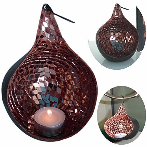 LS Design Windlicht Teelichthalter Windlichthalter Teelichtschale Schwarz Kupfer