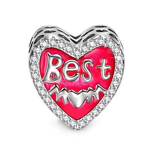 NINAQUEEN Bead Charm ~ Maa migliore ~ Argento Sterling 925 Zirconio Smalto Squisita con Confezione Regalo per Bracciale Charms