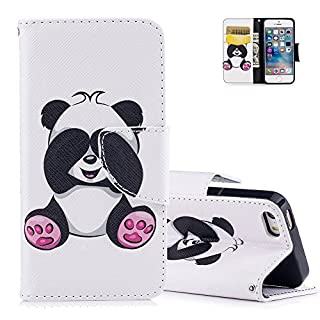 Aeeque iPhone SE Case, Ultra-thin PU Leather Bookstyle Flip Wallet Magnetic Closure Wallet Cover and Lovely Panda Pattern and for iPhone 5 5S SE 4.0