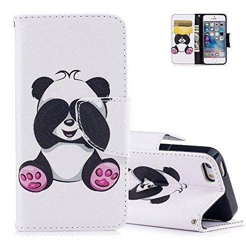 Aeeque® pour Coque iPhone 5 5S SE Blanc, Cute Panda Motif Flip Pochette Etui a Rabat en Cuir Souple Anti Choc Anti-rayure Housse de Protection avec Fermoir Magnetique/ Porte Carte Slot/ Fonction Support