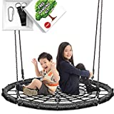 KHOMO GEAR Runde Nestschaukel mit 1 Meter Durchmesser und Kompatibel mit Spielgeräten und Ästen - XL - Schwarz