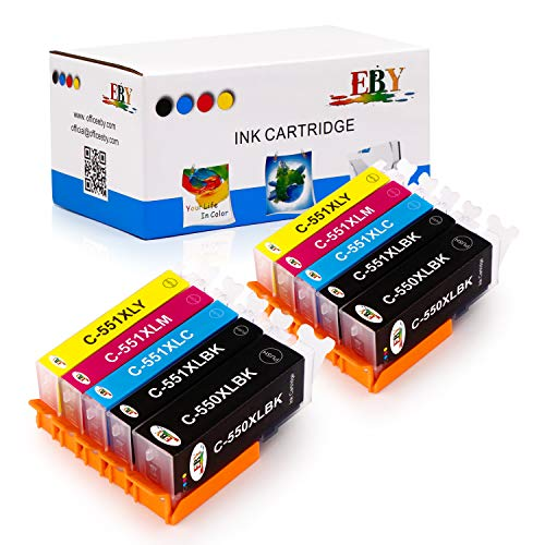 EBY 10 Druckerpatronen kompatibel für Canon PGI 550 XL 550XL BK CLI 551 551XL für Pixma IP7250 IP8750 IX6850 MG6450 MG7550 MX920 MX925