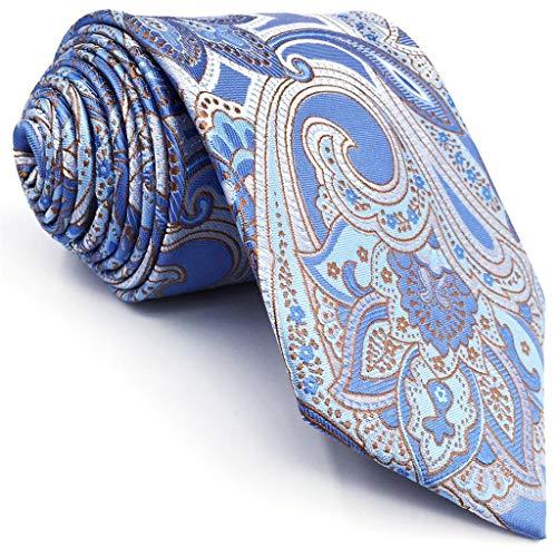 Shlax&Wing Geschäftsanzug Seide Herren Krawatte Blau Geometrisch Extra lang -