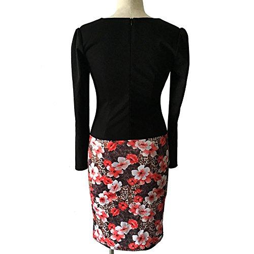 Minetom Donna Elegante Falso Due Disegno Lunghe Manica Vestiti Magra Vestito Avvolgere Hip Stampa Sundress Rosso