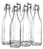 MÄSER Josef GmbH, Serie Bügel, Flasche 1 L, mit Bügelverschluss, 10-Kant, im 6er-Set
