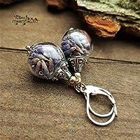 Handmade Damen Ohrringe echte Lavendel-Bl/üten 925 silber Ohrh/änger Sterlingsilber Ohrhaken Glas-kugel H/änger handbef/üllt by Schmuckphantasien lila handgemacht