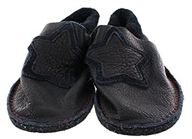 Pololo/pantoufles, chaussures premiers pas biologique antidérapant en tobagoblau star