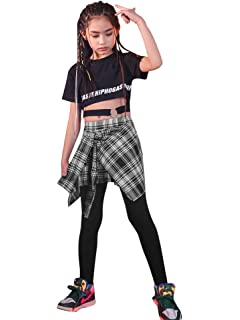 LOLANTA 2pcs Kids Girls Tracksuit Hip Hop Street Dance Solo Clothes Set Cropped Tank Top+Camouflage Jogger Pants