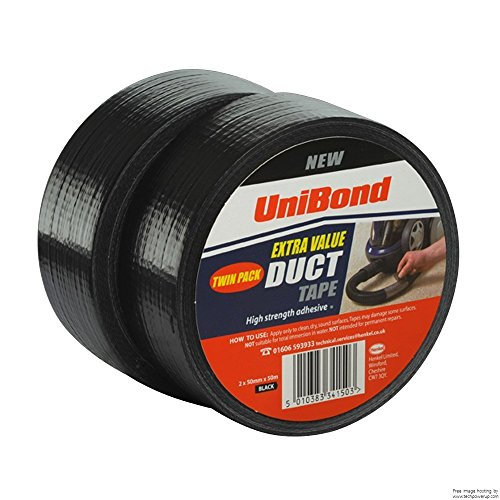 Great Buy for 3x UniBond Original Duct Tape High Strength Adhesive – 50 mm x 50 m, Black, Pack of 5 Reviews
