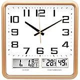 Orologio da parete Termometro da 14 Pollici Calendario perpetuo e igrometro Muto Creativo Soggiorno Calendario Orologio Golden Doppio LCD