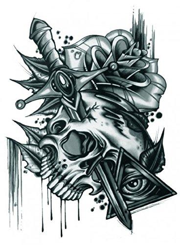 Grashine Halloween Tattoo für Erwachsene schrecklich Schädel mit Rosen und Schwert realistisch und gefälschte temporäre Tattoos