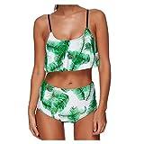 Dongy Zwei Stücke Frauen Bikini Sexy, Dreieck Neckholder Gepolsterter Badeanzug Bikinis Set Für Damen Schwimmen, Grün (Farbe : #1, Größe : XXL)