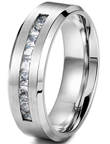 sailimue 8MM Titan Männer Ringe für Herren Band Ring Versprechen Hochzeit Engagement Größen62(19.7) (Ring Immer Für Versprechen)