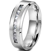 sailimue 8MM Anillos de titanio para hombres Anillos de banda Promesa de la boda Talla 14